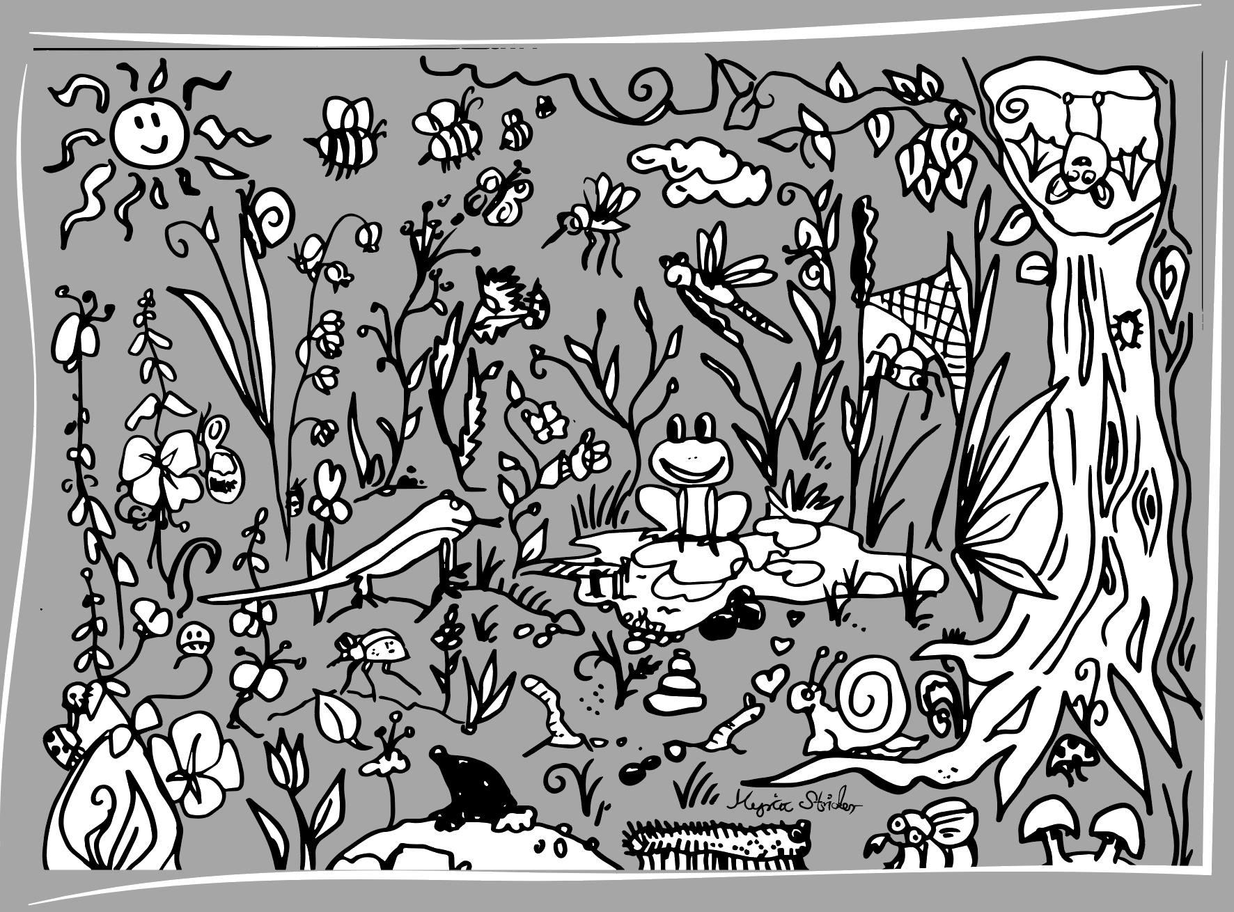Ein Maussuchbild, mit Tuschestift gezeichnet